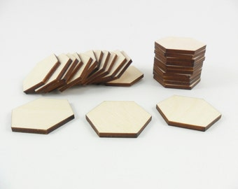 "25 Wood Hexagons 1 1/4"" (31.75mm) Side to Side Unfinished Laser Cut Wood Tiles"