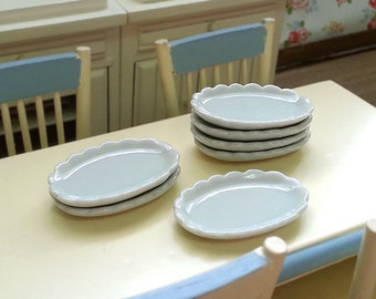 Miniature Porcelain Plates Petite Serving ware, 1/12 scale ~ 1/6 scale Dollhouse Fake Food DIY Craft Food Jewelry Supply