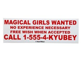 Puella Magi Madoka Magica Anime Bumper Sticker Magical Girls Wanted