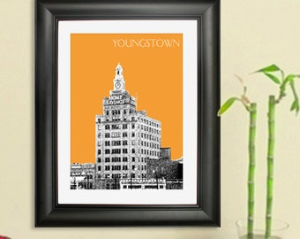Youngstown Ohio Skyline Poster - Youngtown Ohio City Skyline - Art Print - 8 x 10 Choose Your Color