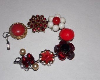 Vintage Earring Bracelet/Shades of Red and Sparkle