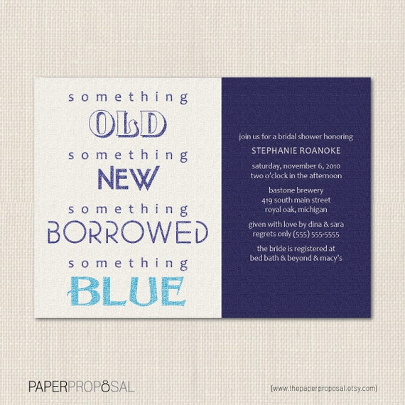 Something Borrowed Bridal Shower Invite - DEPOSIT