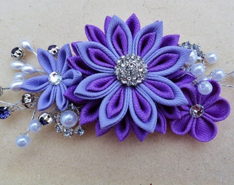 Kanzashi Flower  Haircomb Hair Fascinator Purple and Lavender Color Grosgrain Ribbon with Pearl Spray and Rhinestone