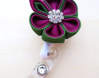 Retractable ID Holder Kanzashi Flower Round Petals ID Badge Reel