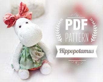 Artist Teddy Bear hippo Pattern - hippo digital pattern - teddy bear hippo epattern  10 inches+ clothes
