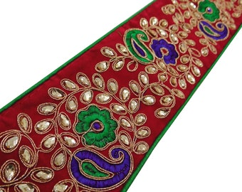 Traditional Bridal Wedding Dress Paisley Beaded Trim Indian Sari Border Supplies Handmade Indian Sewing Supplies Lace Trim By 1 Yard FT391E