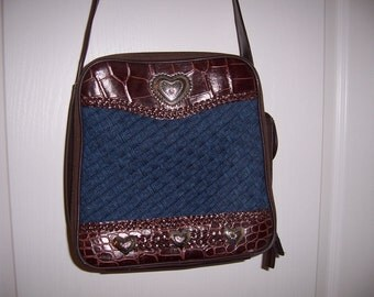 Shoulder Bag, Brown-Faux Leather & Denim with Silver Hearts, Cross Body Purse, by Nanas Vintage Shop