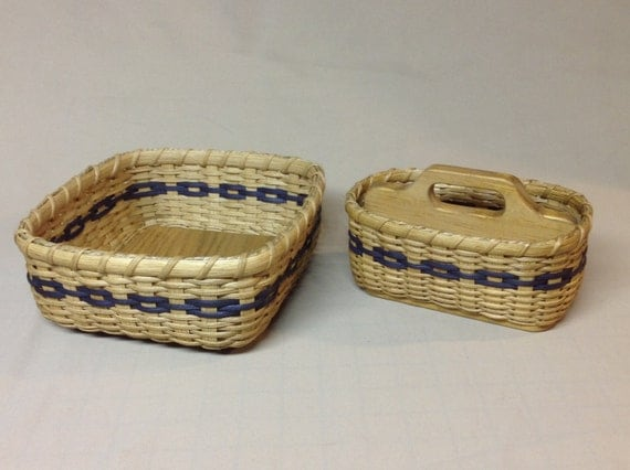 CUSTOM LISTING for Janet - 2 Baskets with Wood Bases, Navy Blue Accent Weaving