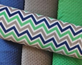 CHOOSE YOUR COLORS Personalized Chevron Double Minky Blanket or Lovey - Green, Midnight Navy Blue, Gray, Grey