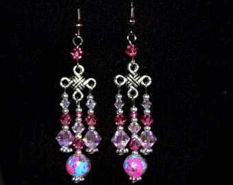 Earring crystal,  Earrings, pink earrings.pink earring, fuchsia earrings,hot pink earrings,
