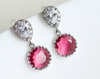 Fuchsia Cubic Zirconia Round Drop Earrings, Bridal Shower Gift, Bridesmaid Sterling Silver Post Earrings, Red Ruby Wedding Jewellry