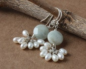 Aquamarine Coin Earrings, White Pearl Cluster in Sterling Silver - On Sale