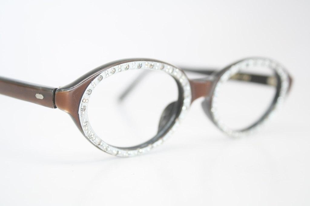 Cat Eye Rhinestone Eyeglass Frames : Small Rhinestone cat eye glasses vintage by VintageOpticalShop