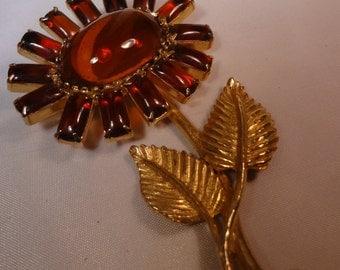Large Amber Flower brooch