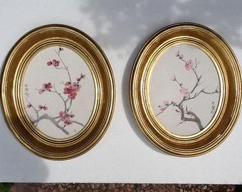 Vintage gold leaf oval picture frames with original art