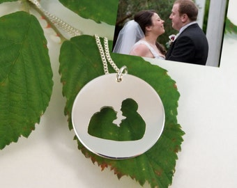 Personalised Silhouette pendant from your own picture handsawn in sterling silver