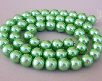 Spring green glass pearls, 8mm light green round beads, full 16 inch strand