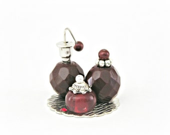 12th One Inch Scale Doll House Miniature Perfume Bottle Ladies Vanity Set Pale Garnet