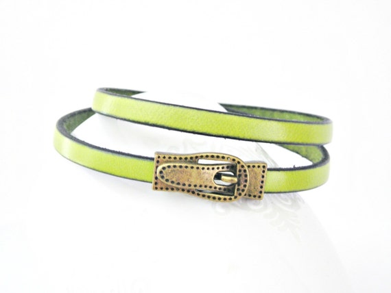 Chartreuse green leather bracelet double wrapped with magnetic belt shape clasp
