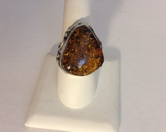 Large Statement Amber Ring