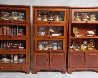 The Dolls House Miniature Walnut Syle Triple set of Museum / Collector's Cabinets