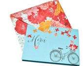 Merci Bicycle Basket full of flowers handmade thank you set of 10 cards