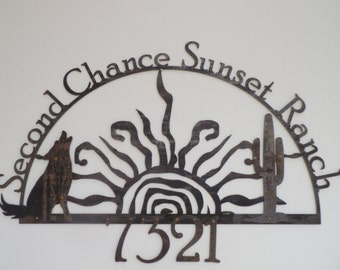 Rising Sun Personalized Outdoor Recycled Steel Name Address Custom  Sign