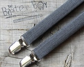 Dark grey polyester pinstripe suspenders for little boys - photo prop, wedding, ring bearer, accessory