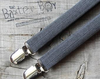 Dark grey polyester pinstripe suspenders for little boys - photo prop, wedding, ring bearer, accessory