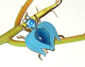 Signed Alice Caviness Blue Bug Insect Brooch