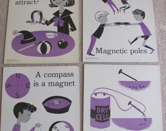 "Vintage Illustrated Large Flash Card Science Chart Poster -- 11"" x 14"" Your Choice"