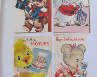 Lot of 4 Vintage Antique Greeting Card - Circa 1940s - Birthday Mothers Day