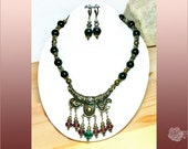 """20"""" Necklace Ornate Antique Brass Centerpiece Black Onyx Indicolite Amethyst Czech Topaz Crystals Bib Necklace And/Or Leverback Earrings"""