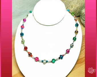 """17"""" Necklace Colorful Semi-Opaque Czech Glass Beads Multicolor Swarovski Crystal Bicones Silver Chain Necklace Silver Fishhook Pearl Clasp"""