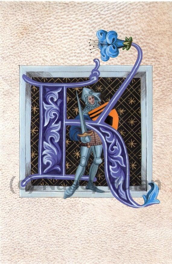 Alphabet Letter K Medieval Illuminated Letter K Painted