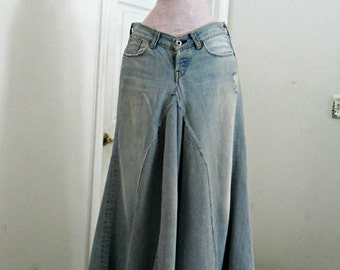 Lucky brand ballroom jean skirt Renaissance Denim Couture fairy goddess mermaid belle bohémienne Made to Order