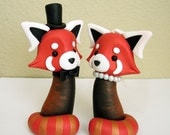 Mr. and Mrs. Red Panda - Wedding Cake Topper - ORIGINAL OOAK Miniature Sculptures - Decor