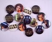 Star Wars Wedding, Star Wars Magnets, Star Wars Pins, Star Wars Flat Backs, Star Wars Party Favors, Star Wars Badges 12 ct. Set A