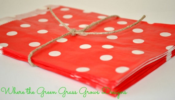 Red and White Paper Party Bags