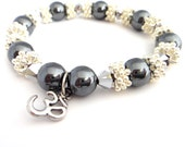 Yoga Root Chakra Meditation Bracelet with Genuine Silver Hematite and Swarovski Crystals