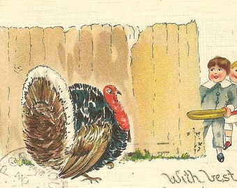 Thanksgiving Postcard Children Luring Turkey Gobbler with Pan of Corn 1921 with US 548 Mayflower Stamp