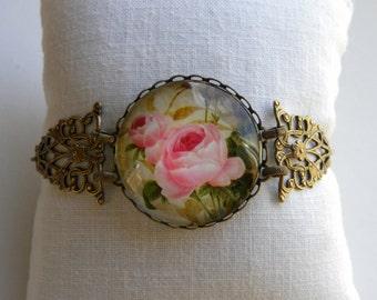 Pink Roses Bracelet Shabby Chic Bracelet Pink Victorian Filigree Bracelet