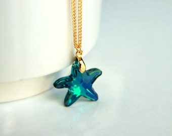 Necklace: Gold plated elegant chain with blue starfish swarovski crystal, starfish pendant, crystal, wedding valentine's mother's day