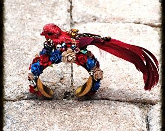 Red and Blue Floral Bird Cuff Bracelet Swarovski