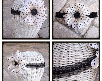 Large Ivory Black Polkadot Burlap  Flower Swarovski  Crystal headband
