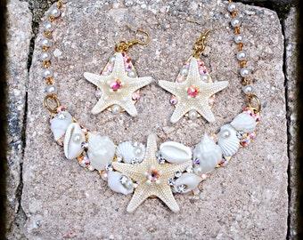 Swarovski Crystal Starfish Shell Bib Necklace and Earring Set
