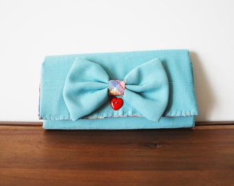 Light Aqua Blue Linen Trifold Clutch Wallet with Bow and Red Heart Button