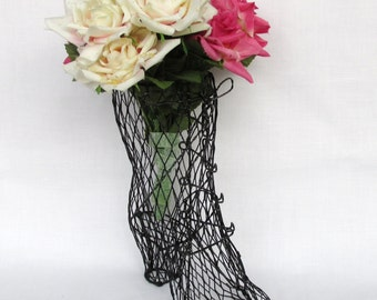 Black Mesh Wire Victorian Lace Up Boot Shabby Chic or Victorian