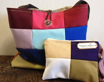 Upcycle tote bag book bag with matching zippered pouch