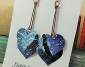 NEW Long Heart Earrings.  DOUBLE-sided.   Recycled Soda Can. Monster Blue